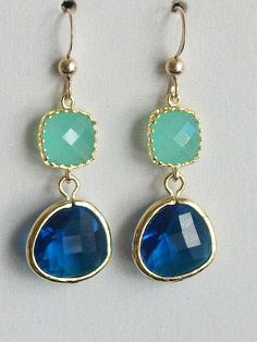 Mint Earrings Royal Blue Earrings Blue gold earrings by AnnTig, $28.00