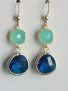 Mint Earrings Royal Blue Earrings Blue gold earrings by AnnTig, $28.00
