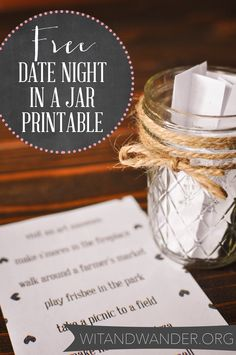 Discover how to make a DIY Date Night Jar full of great ideas that you and your spouse will love You can also download a printable full of ideas to jump start your DIY Date Night Jar from Wit and Wander!