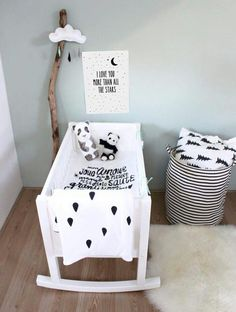 Cute black and white nursery inspiration! Baby Bedroom, Baby Room Decor, Nursery Room, Boy Room, Kids Bedroom, Nursery Decor, Kids Rooms, Nursery Ideas, Bedroom Decor