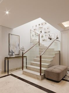 Interior Design Of The Apartment in Estepona, Spain Interior Design Business, Interior Design Studio, Modern Interior Design, Interior Design Inspiration, Modern Hallway, Modern Stairs, Gallery Wall Staircase, Large Pendant Lighting, Blue Curtains
