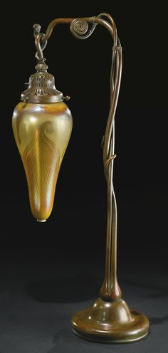 ** Tiffany Studios, New York, Favrile Glass and Patinated Bronze Lamp | JV