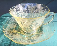 Cambridge Depression Glass Canary Yellow Etched Apple Blossom Cup Saucer Set | eBay