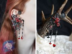 "Set ""Dark Roses"". pair of Ear cuffs and pair of earrings 