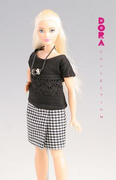 Barbie clothes for curvy barbie, 3piece set top, skirt and necklace
