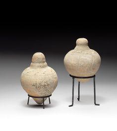 Two Byzantine pottery hand granades Circa 8th-10th Century A.D.