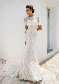 3e580f0317 Justin Alexander - Style 8920C: Chantilly Lace Cape with Scalloped Hem - Bohemian  Wedding Dress