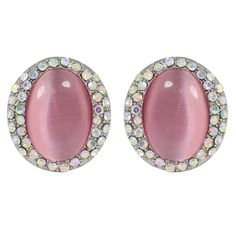 CHIC Pretty Pink Opal Stud Clip On Earrings