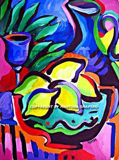 Sukkoth still life painting, original painting by artist Martina Shapiro, abstract Jewish still life with etrogim.