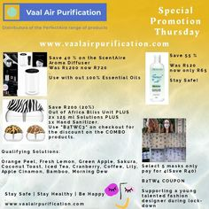 When money is a bit tight... Check out our Special Promotion Thursday offers! Offers available on our safe and secure SHOP at www.vaalairpurification.com Stay Safe. Stay Healthy. Be Happy Home Air Purifier, 100 Essential Oils, Aroma Diffuser, Special Promotion, Stay Safe, How To Stay Healthy, Thursday, Money, Happy