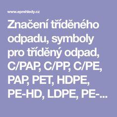 Značení tříděného odpadu, symboly pro tříděný odpad, C/PAP, C/PP, C/PE, PAP, PET, HDPE, PE-HD, LDPE, PE-LD, PP, PS Led