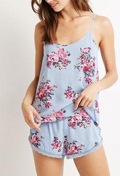 Floral Lace-Trimmed PJ Set  768bdeb71