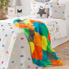 MULTICOLOURED FUR BLANKET - I am a hero - TRENDS | Zara Home Greece