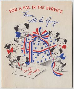 Vintage Greeting Card WWII Era Soldier Pal Puppy Dog Patriotic Norcross e378
