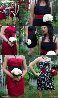 Red white & black bridesmaid dresses, damask wedding theme, rose bouquets