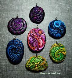 Polymer Clay Pendant Assortment Feb 2014 by MandarinMoon.deviantart.com on @DeviantArt