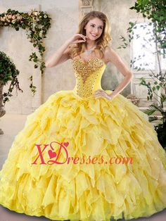 Quinceanera Dresses online shop offers 2016 Elegant Yellow Quinceanera Dresses with Beading and Ruffles features sweetheart neckline Ball Gowns in color,floor length dress with lace up back and train for military ball sweet 16 quinceanera . Ball Gowns Prom, Ball Gown Dresses, 15 Dresses, Kids Party Wear Dresses, Birthday Dresses, Yellow Wedding Dress, Wedding Dresses, Girls Dress Up, Sweet 16 Dresses