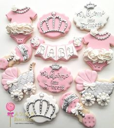Royal princess baby shower cookies for the impending arrival of a princess yet to be named Baby carriage, onesies and rattles inspired… Summer Cookies, Cookies For Kids, Fancy Cookies, Iced Cookies, Cute Cookies, Heart Cookies, Valentine Cookies, Easter Cookies, Birthday Cookies