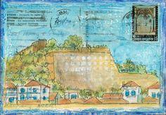 Village Walls - Altered vintage postcard art by Gill Tomlinson