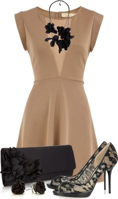 """""""Lacey Black & Nude"""" by qtpiekelso on Polyvore"""