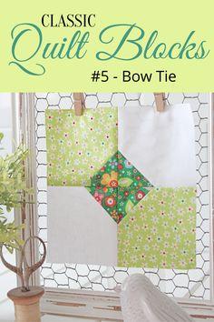 {Classic Quilt Blocks} Bow Tie - A Tutorial - Threadbare Creations Quilting Tutorials, Quilting Projects, Quilting Designs, Sewing Projects, Quilting Ideas, Quilt Blocks Easy, Quilt Block Patterns, Pattern Blocks, Tie Quilt