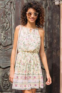 Pippa Keyhole Neck Floral Border A-Line Dress