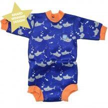 Splash About Happy Nappy Diaper Wetsuit Shark Orange XX Large 2-3 Years