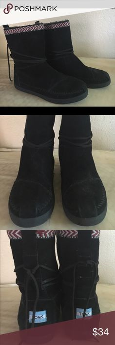 TOMS suede booties. Great used condition. Suede booted with great detail. TOMS Shoes Ankle Boots & Booties