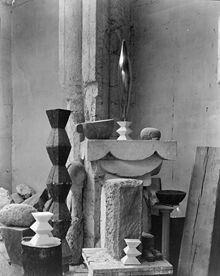 "cavetocanvas: "" Edward Steichen, Brancusi's Studio, c. 1920 From the Metropolitan Museum of Art: "" Steichen lived in Paris on and off from 1900 to making paintings and photographs. A cofounder. Edward Steichen, Alfred Stieglitz, Modern Sculpture, Sculpture Art, Brancusi Sculpture, Art Encadrée, Constantin Brancusi, Peggy Guggenheim, 3d Mesh"