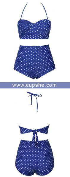 Treat Yourself to Something Special. Open back classic! Cupshe Stars In Sky Dot Bikini Set comes in dot print and high-wasited bottom. $21.99 Only. Comfy fabric. Check it out.