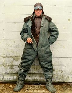 U.S. Mail Service pilot William C. Hopson in 1926. The pilot was modelling his winter uniform used for flying in the open cockpit.