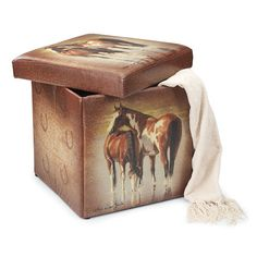Unique Horse Gift! Collapsible Horse Themed Storage Ottomans