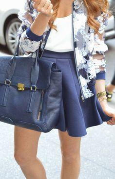 Burnout Floral Bomber Jacket, Joa neoprene skirt, Phillip Lim Ink Pashli