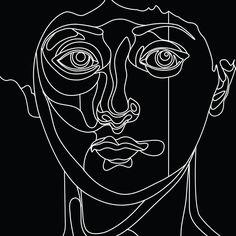 face time! See the full Illustration on behance. behance.net/danieltriendl  #face #head #line #bw #vector #portrait #adobe #illustrator #behance #specialtickettothemoon #danieltriendl