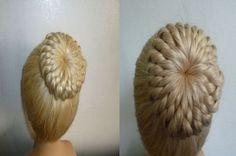 Einfache Frisur:Flechtfrisur.Zopffrisur mit Duttkissen/Dutt.Donut Hair B...