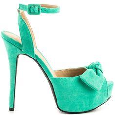 Eliana - Green by JustFab Platform Stilettos, Stiletto Pumps, High Heels Stilettos, Platform Shoes, Green High Heels, Green Pumps, Ankle Strap High Heels, Peep Toe Shoes, Kinds Of Shoes