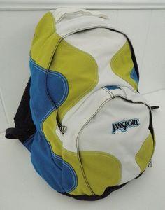 fce964ae8e3d JANSPORT Backpack Book School Bag White Lime Green Blue Nylon Organizer  Pocket  JanSport  Backpack  bookbag  white  blue  limegreen