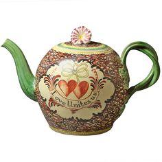 Antique Creamware English Pottery Chintz Pattern Teapot ~ LOVE UNITES US