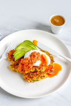 Kumara (Sweet Potato), Corn & Feta fritters with Avocado, Poached eggs and Smokey Red Pepper Sauce