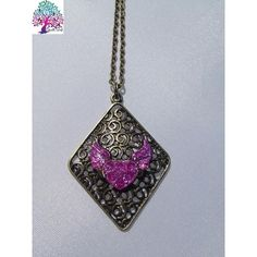 $15.00 Neck Art Pendant Diamond Pink by NeckArt on Handmade Australia