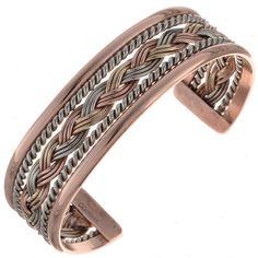 Navajo Silver Gold Bracelet Braided Copper Cuff By Tahe Copper Cuff, Copper Bracelet, Silver Cuff, Copper Jewelry, Turquoise Jewelry, Cuff Bracelets, Bracelet Display, Navajo Jewelry, Handmade Copper