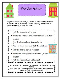 Let your students practice working with fractions with this engaging activity. In this product, students get to design a street using different fractions. In this fraction activity, students will work with fractions in a set and equivalent fractions. Teaching Fractions, Math Fractions, Teaching Math, Equivalent Fractions, Dividing Fractions, Teaching Division, Fraction Activities, Math Resources, Math Activities