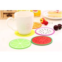 Fruit Silcone Coaster Cute Cup Pad Drinks Glass Mat Coasters Set Bright Colors