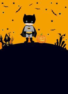 Carte d'invitation pour une fête d'enfants sur les thèmes de Batman et Halloween.