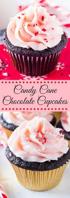 Candy Cane Chocolate Cupcakes are the perfect holiday treat! Moist chocolate cake topped with peppermint frosting & sprinkled with candy canes