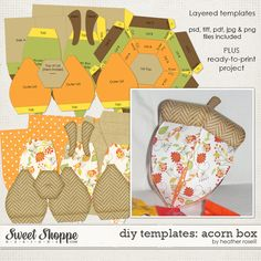 DIY Printable Templates: Acorn Box by Heather Roselli