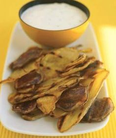Grilled Potato Chips With Chive Dip | These winning dips and spreads will score big at any gathering.