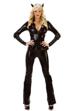 Cat Burglar CostumeThe Cat Burglar costume includes a black, faux leather cat suit with long sleeves, zipper front, belt and cat ear head band
