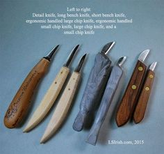 bench knives used in relief wood carving and whittling