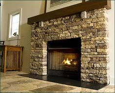 midern rustic stone fireplace - Google Search